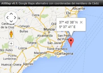 AltMap v0.1: Google Maps alternativo con coordenadas del meridiano de Cádiz